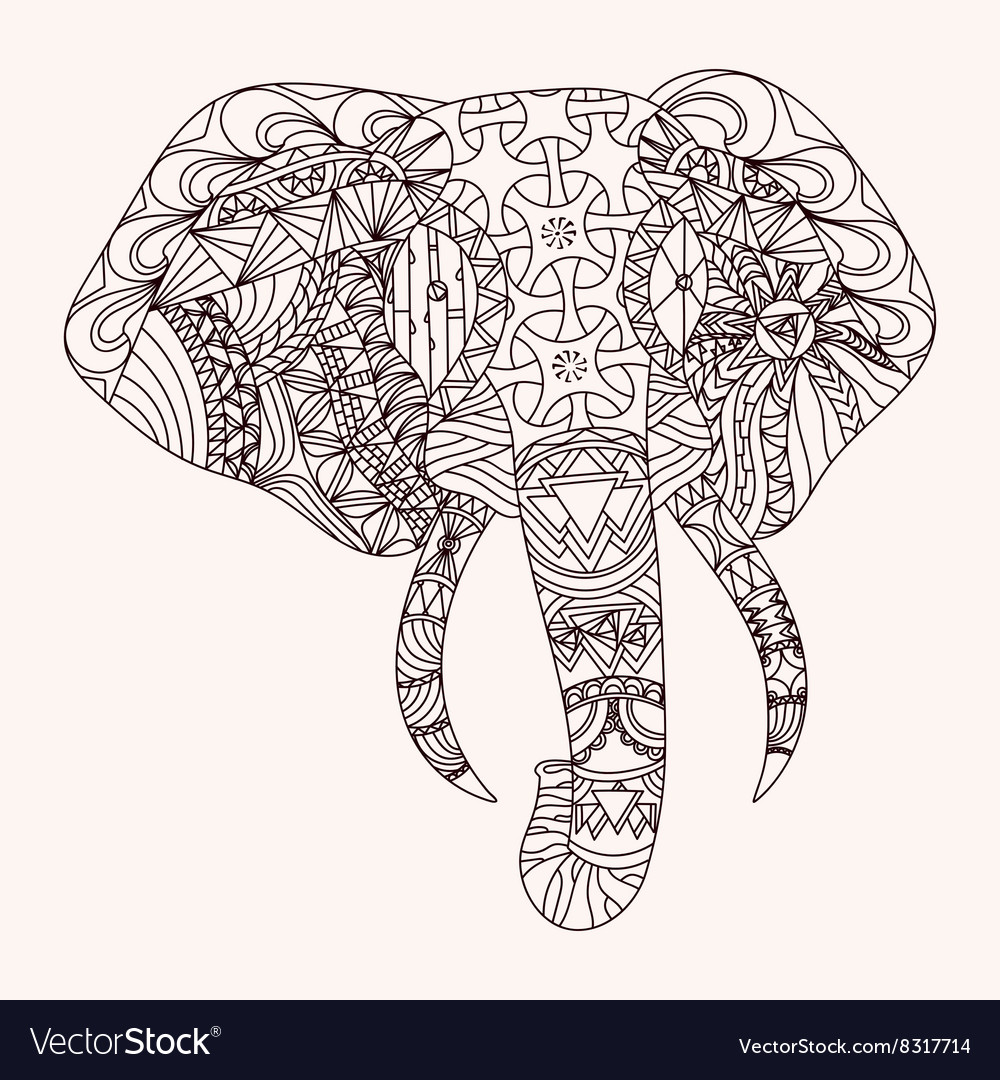 patterned elephant zentangle style royalty free vector image