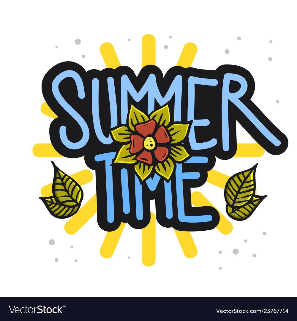 Summer time summertime design on a white