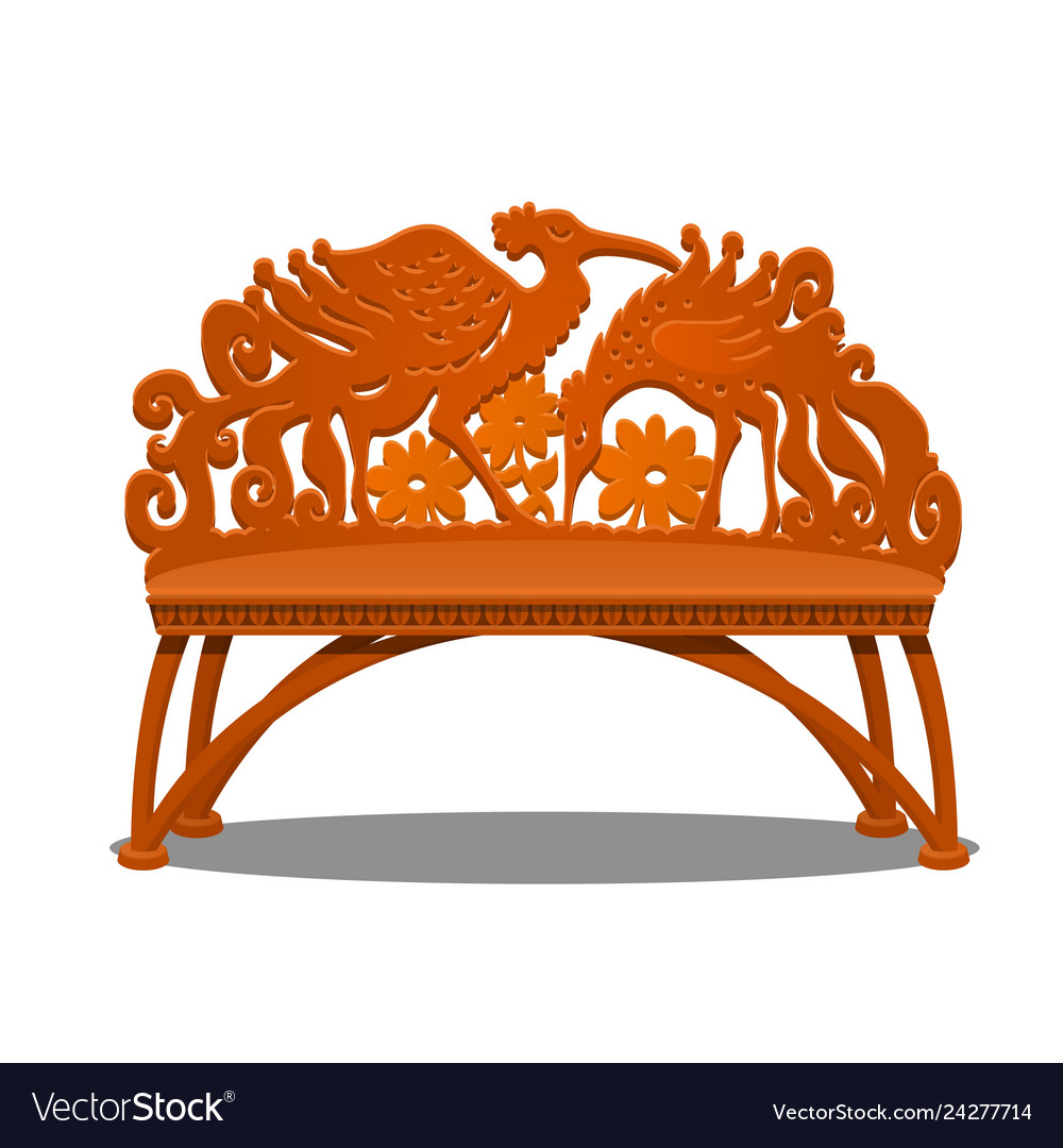 Astonishing Wooden Carved Bench In The Form Of Fantasy Birds Machost Co Dining Chair Design Ideas Machostcouk