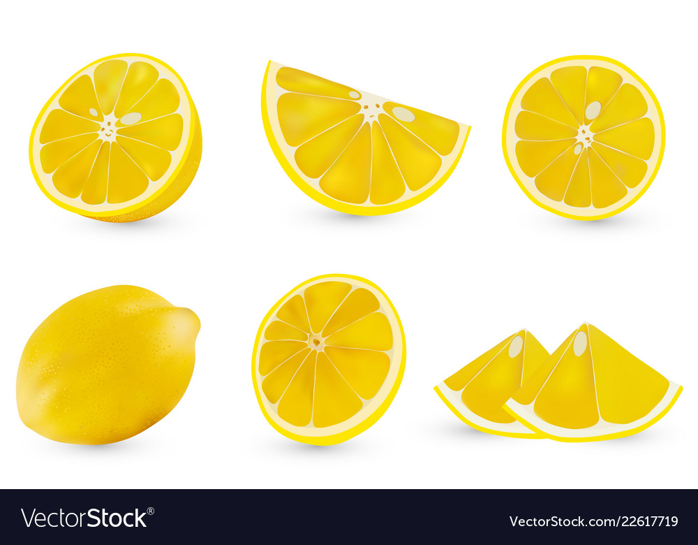 3d realistic sliced lemon isolated sliced