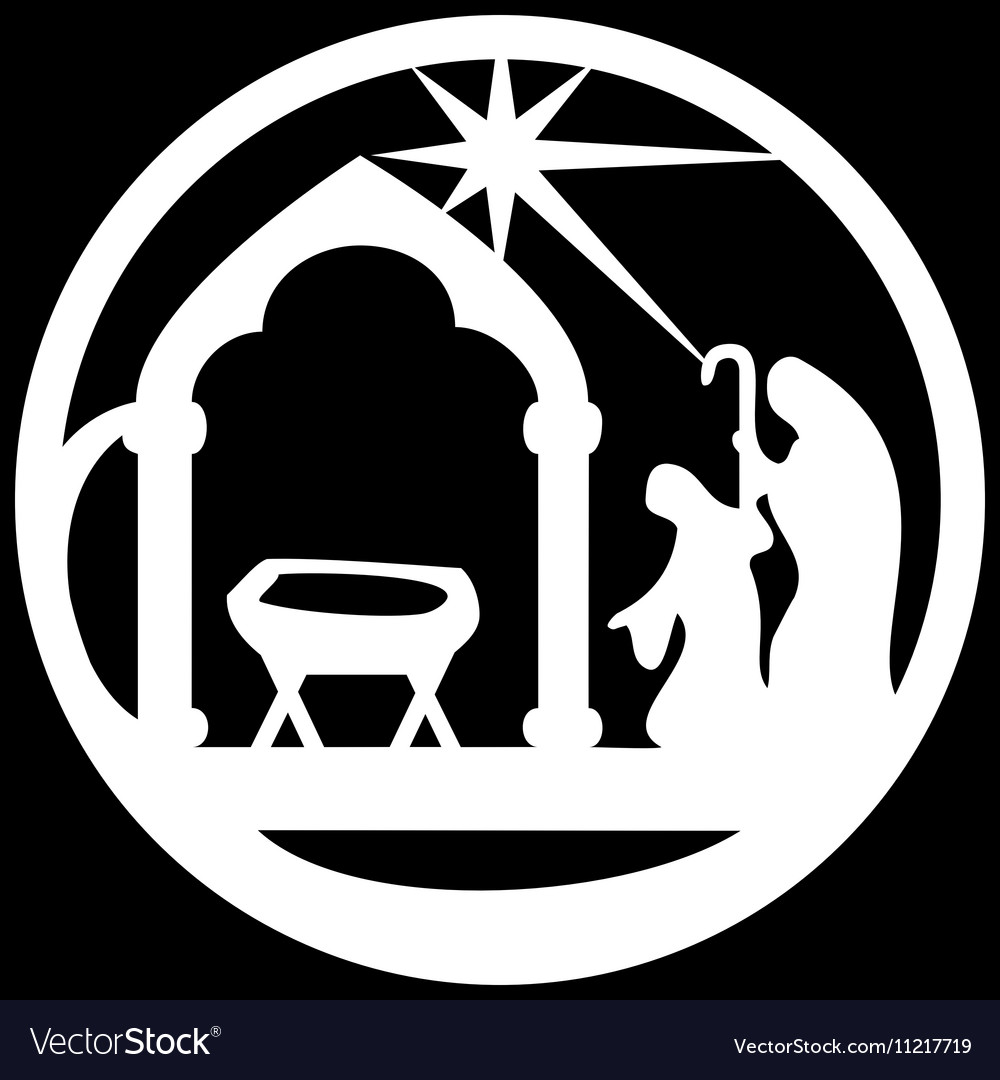 Adoration of the Magi silhouette icon white black