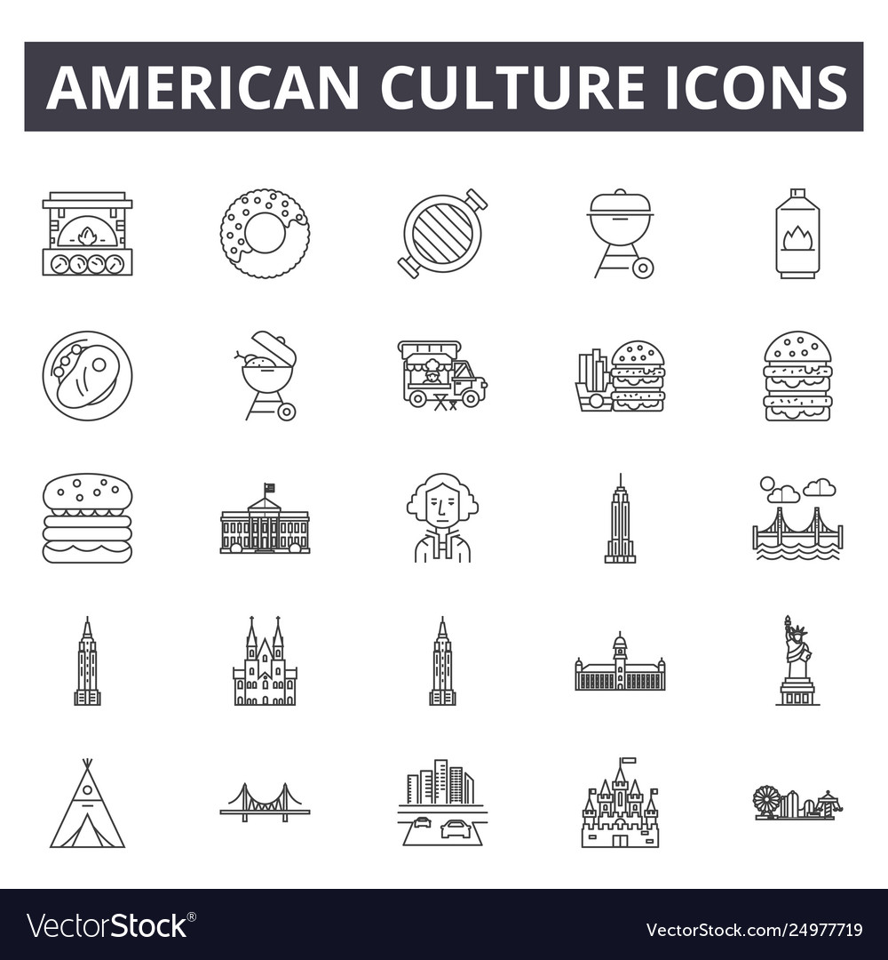 American culture line icons signs set