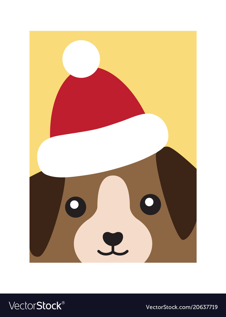 Cover dog in santa claus hat