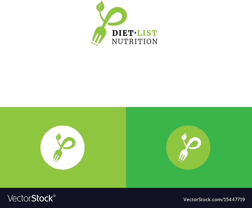Cute fork checklist and leaf organic logo vector image