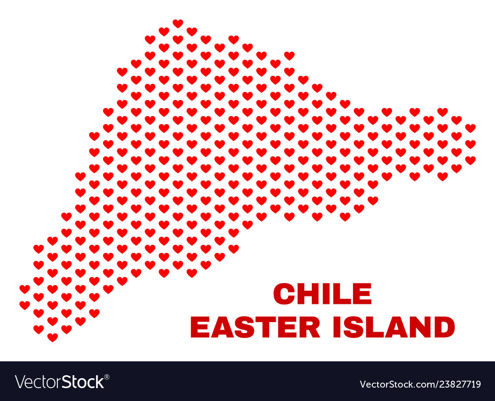 Easter island map - mosaic of love hearts