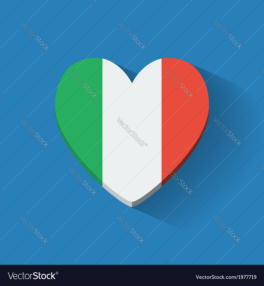 Heart-shaped icon with flag of Italy