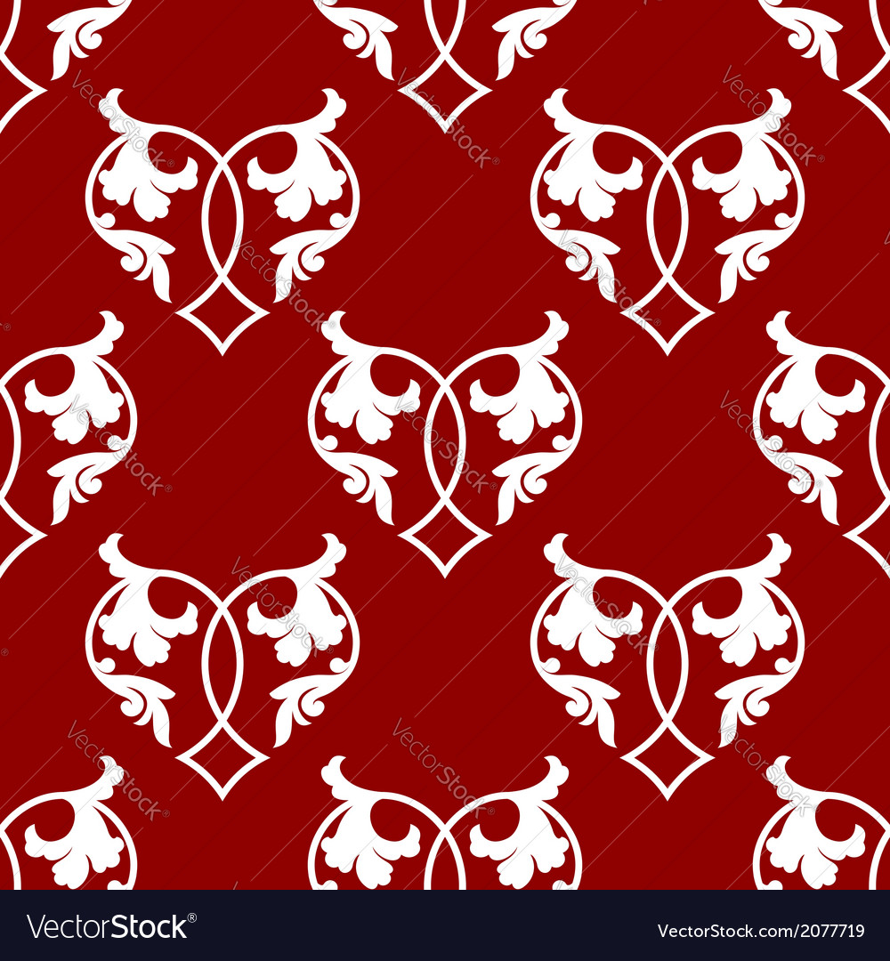 Seamless pattern of floral hearts vector image
