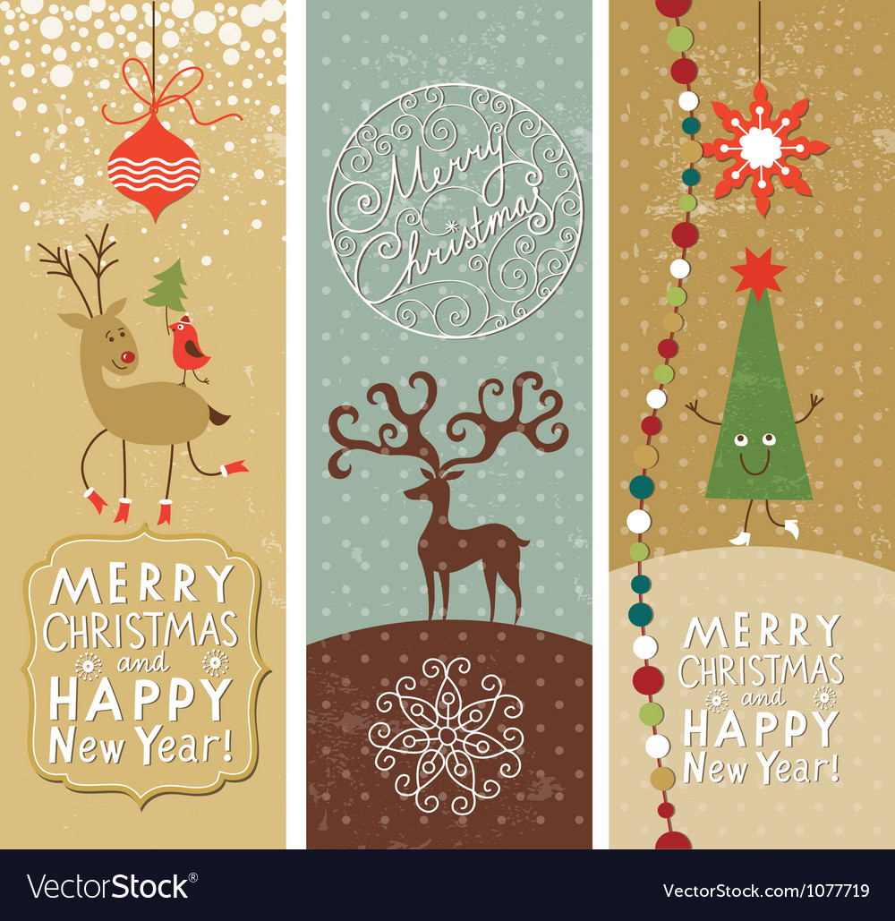 Set of Christmas and New Year banners