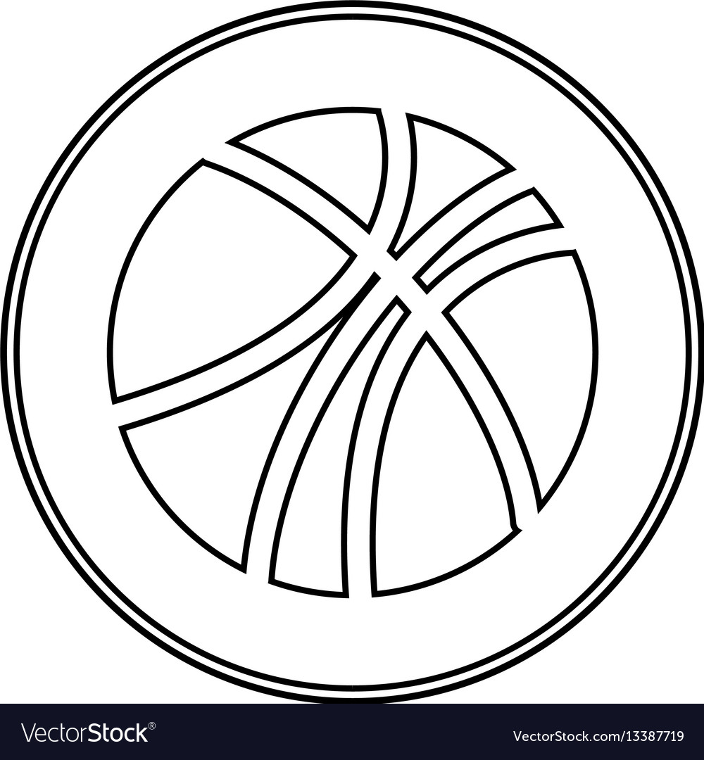 Silhouette circular border with with basketball vector image