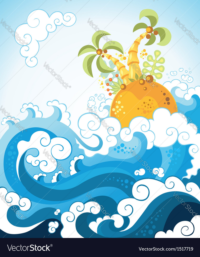 Tropical island in ocean in decorative style