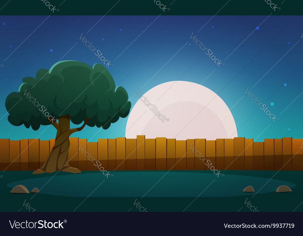 Wooden Fence With Tree At Night Time