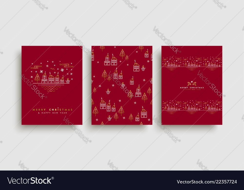 Christmas and new year gold outline card set