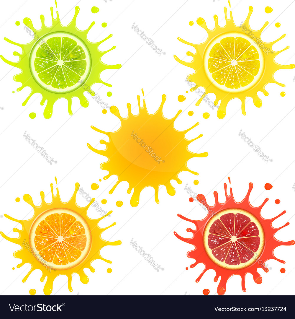 Citrus fruit in splashes of juice