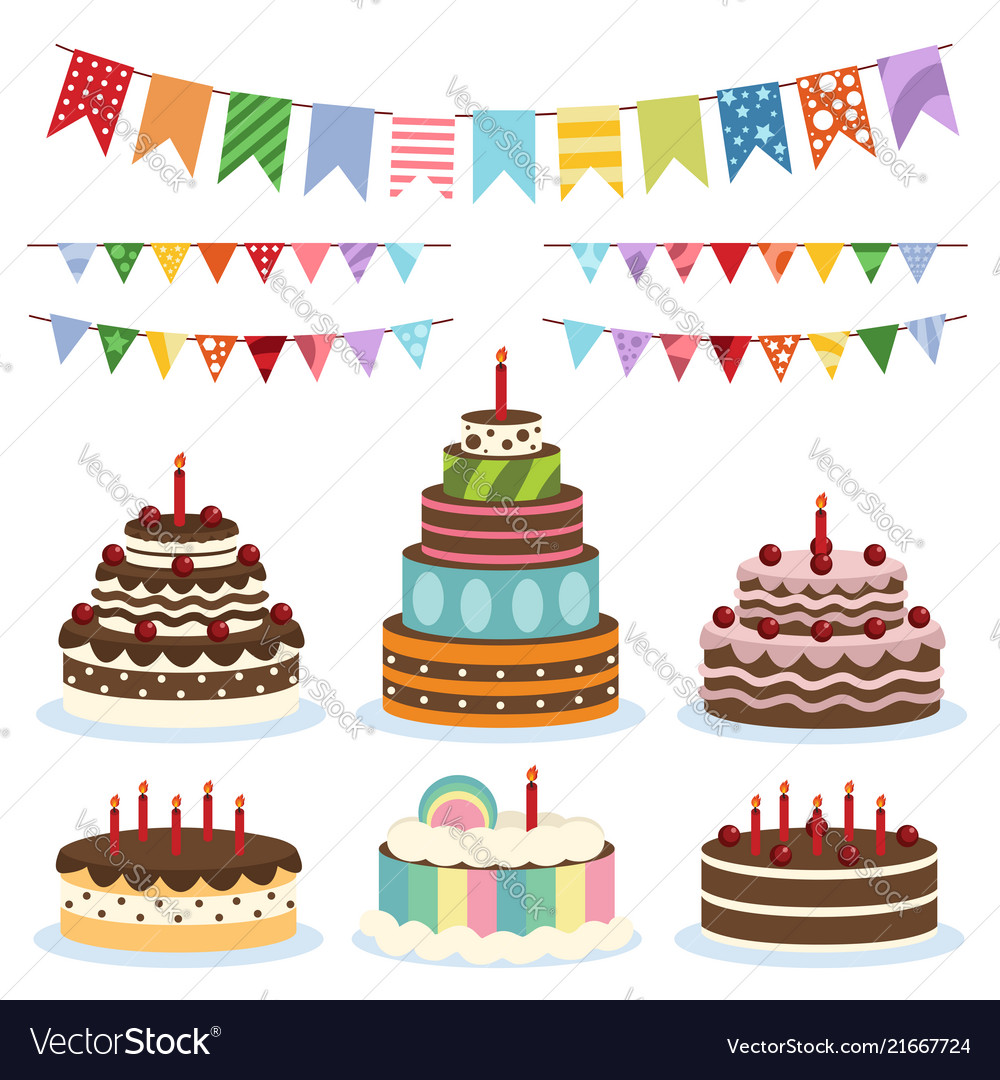 Colorful Birthday Banners And Cakes Vector Image