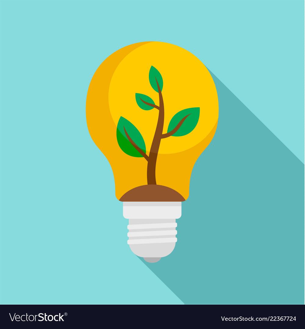 Eco bulb icon flat style