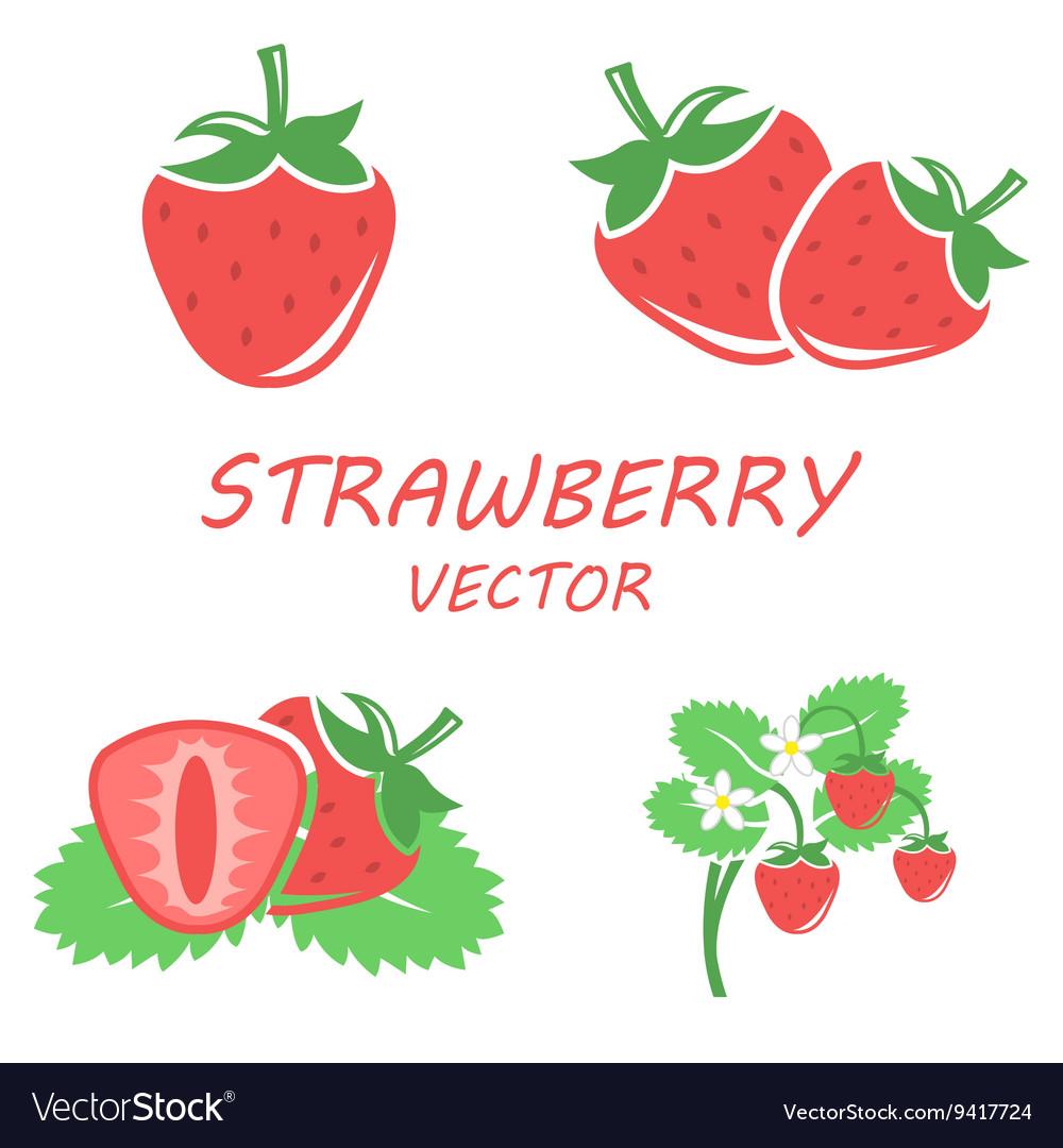 Flat strawberry icons set