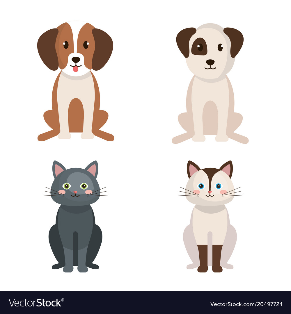 Group Of Cute Pets Royalty Free Vector Image Vectorstock