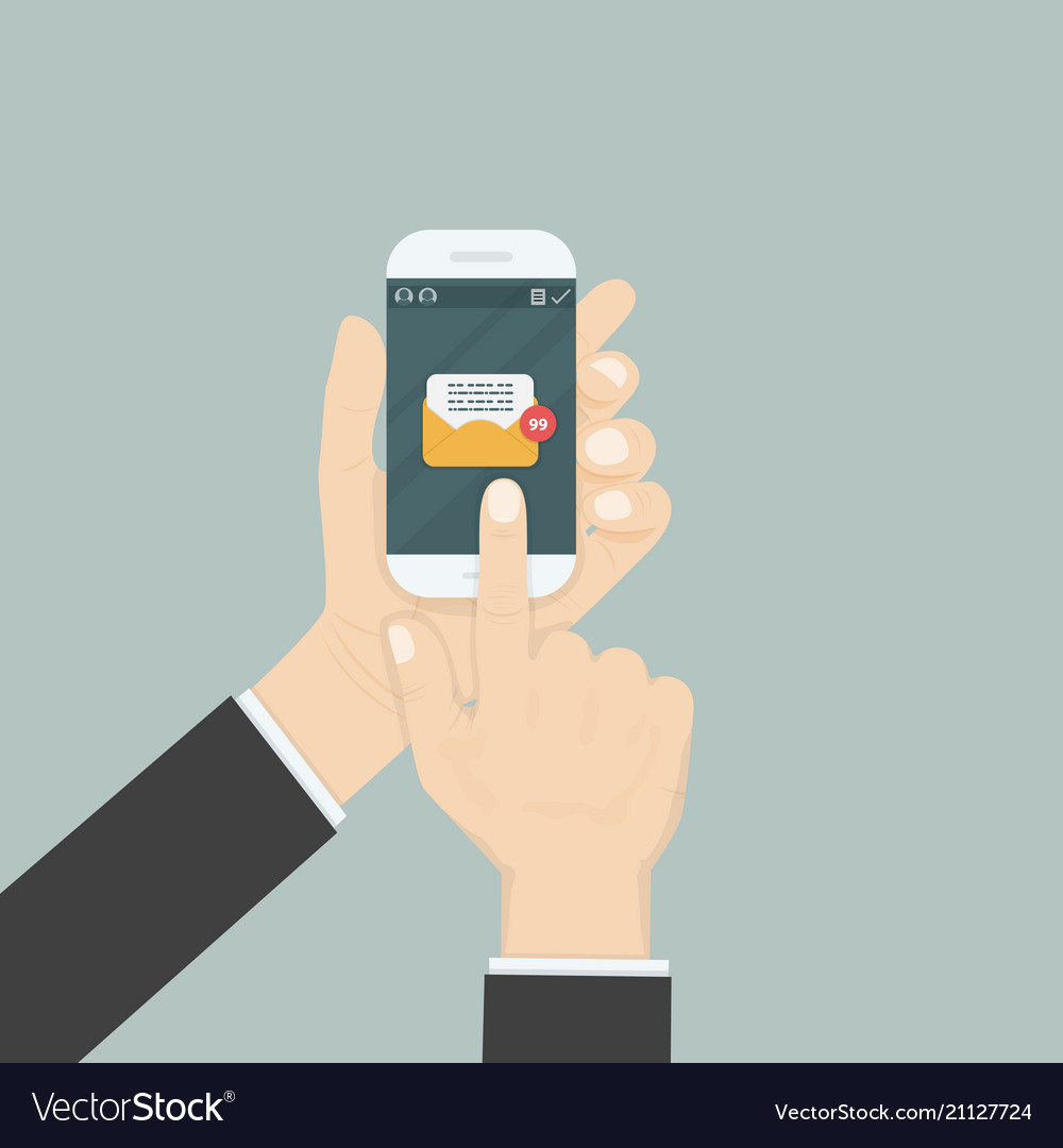 Hand holding smartphone and touching screen