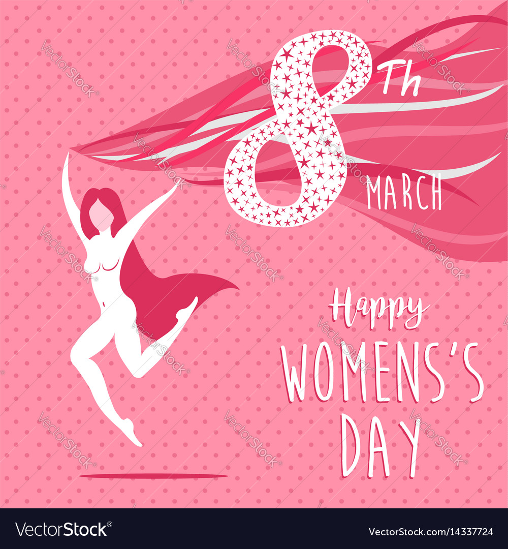 Happy international womens day celebration girl vector image