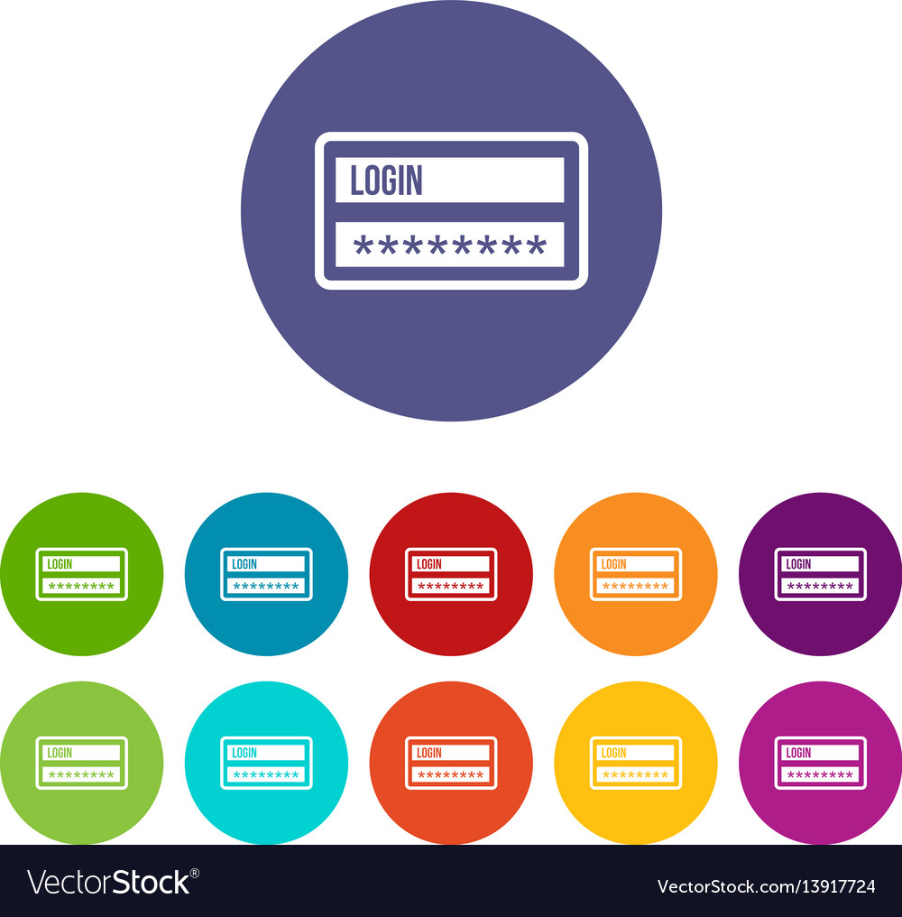 Login and password set icons vector image