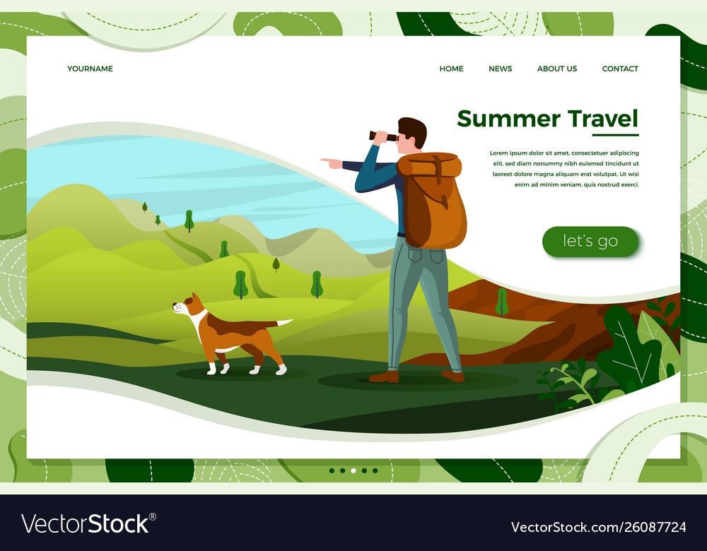 Man travel with dog looking in binoculars