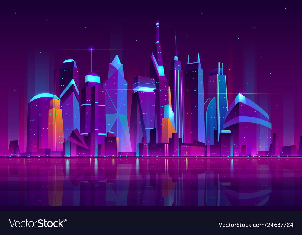 Night city futuristic landscape background