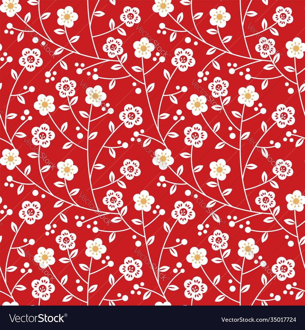 Red gold plum blossom flower seamless pattern