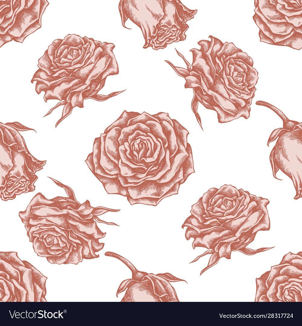 Seamless pattern with hand drawn pastel roses