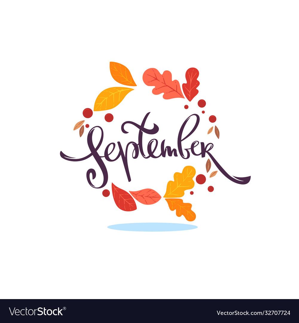 September lettering season composition