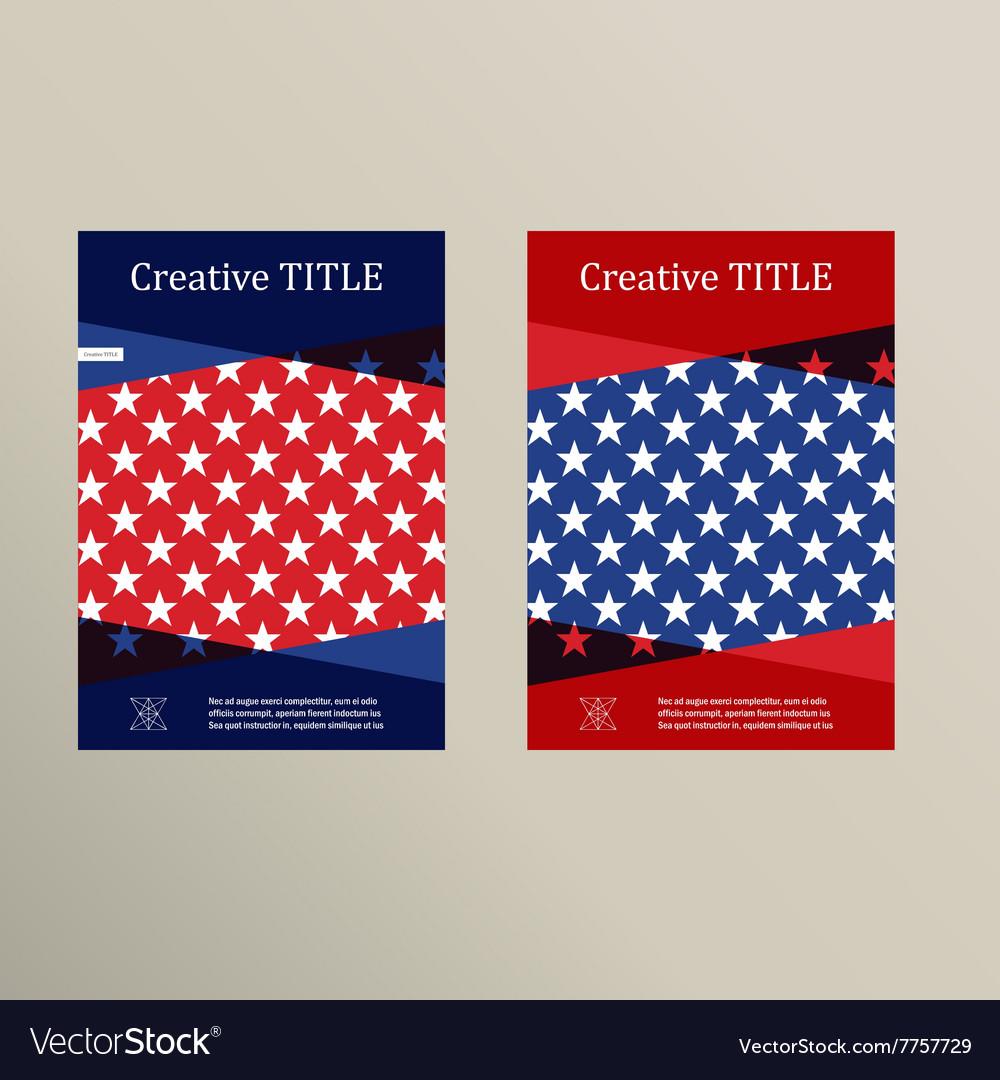 Brochure cover template Usa flag design vector image