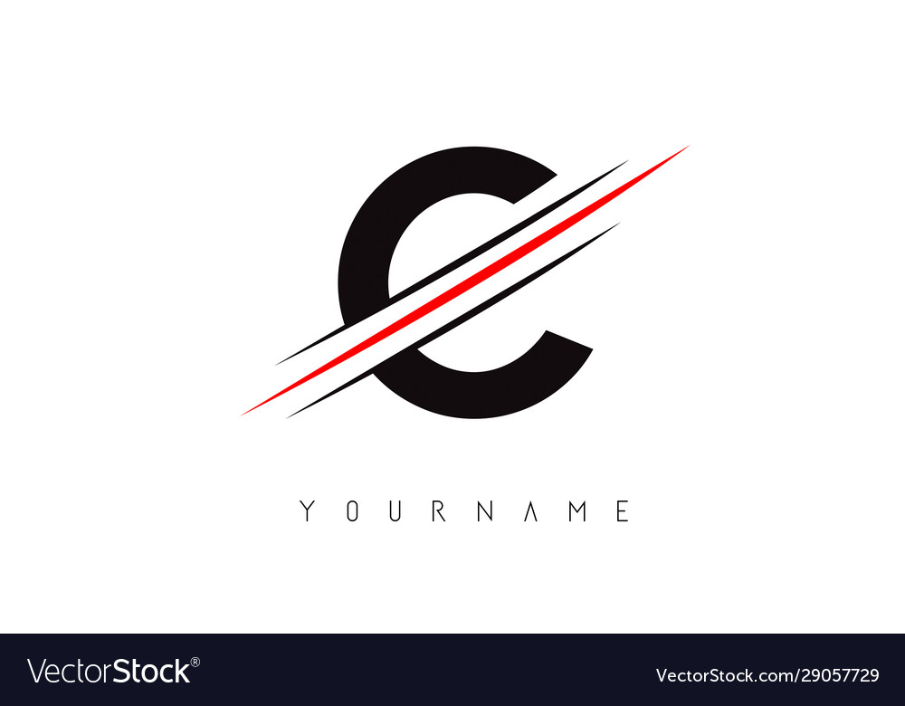 C Letter Logo Design With Creative Red Cut Vector Image