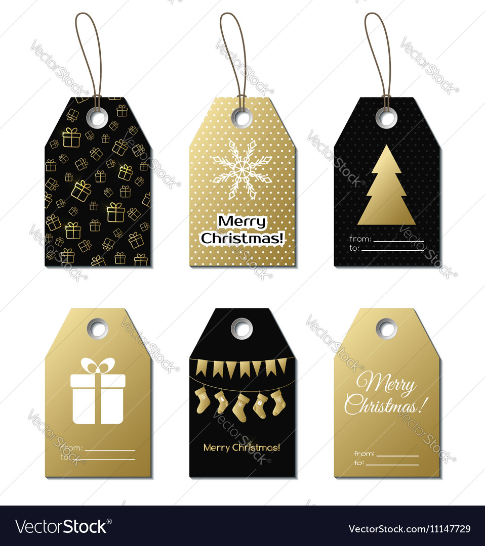 Christmas gift tags gold labels Royalty Free Vector Image