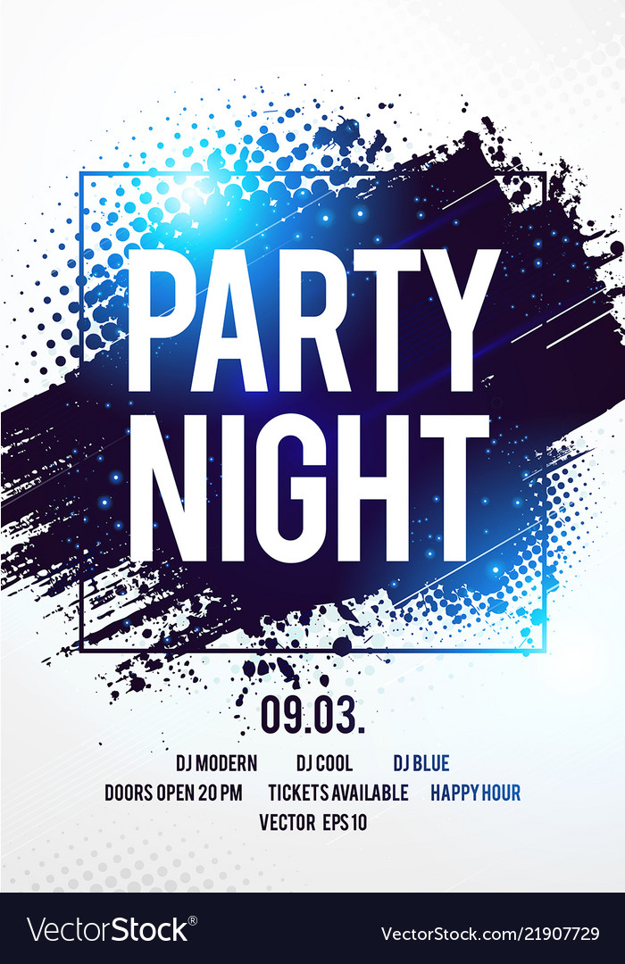 Club Disco Party Night Flyer Template Royalty Free Vector