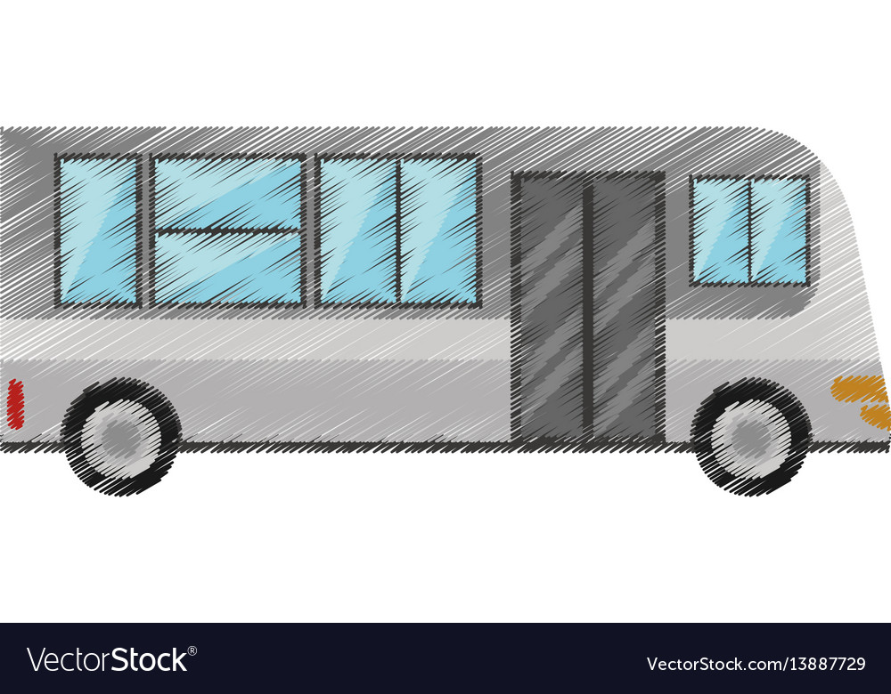Drawing bus transport urban public