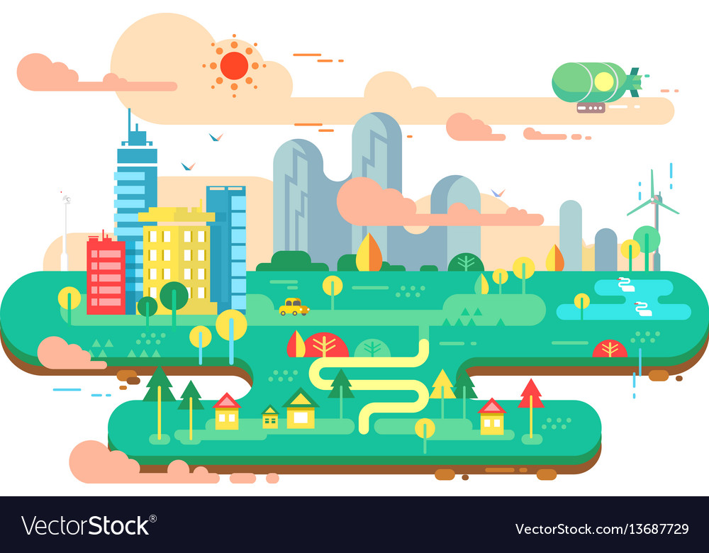 Green city flat vector image