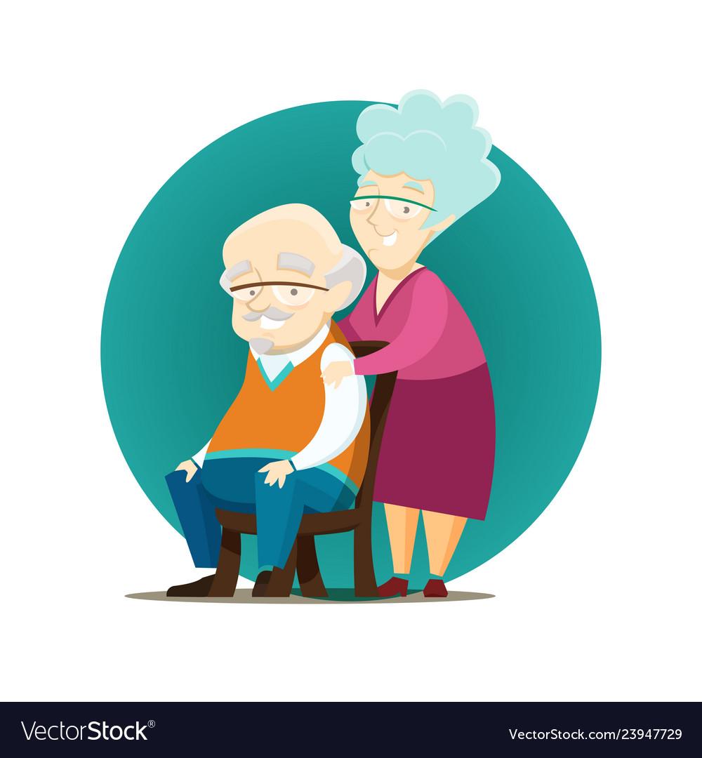 Happy elderly couple posing together