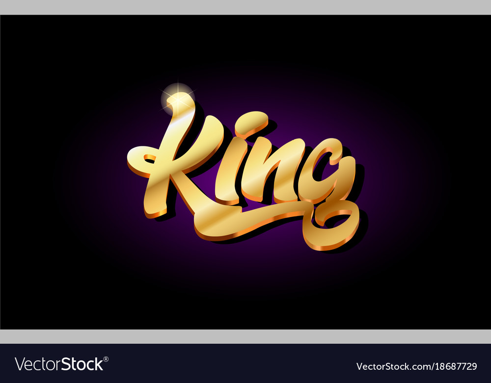 King 3d gold golden text metal logo icon design