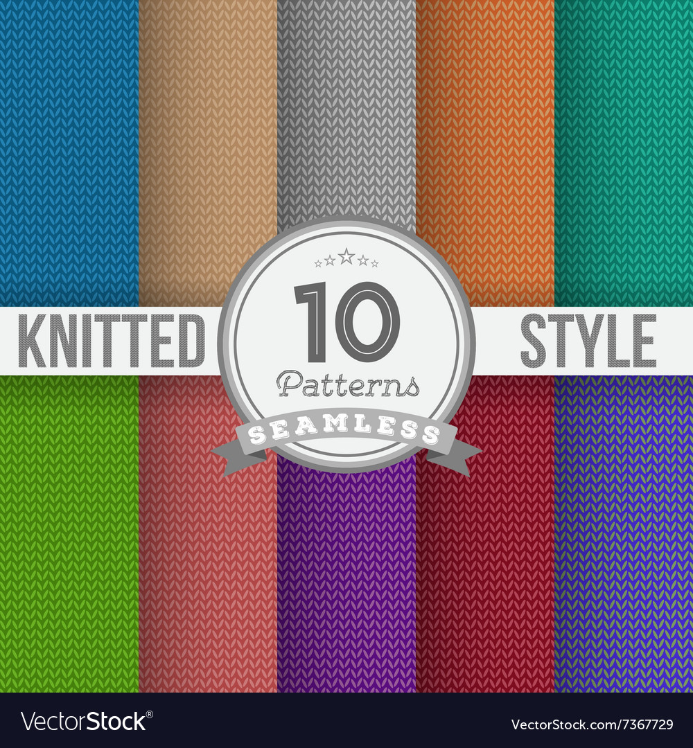 Knitted Style Seamless Pattern Set EPS10