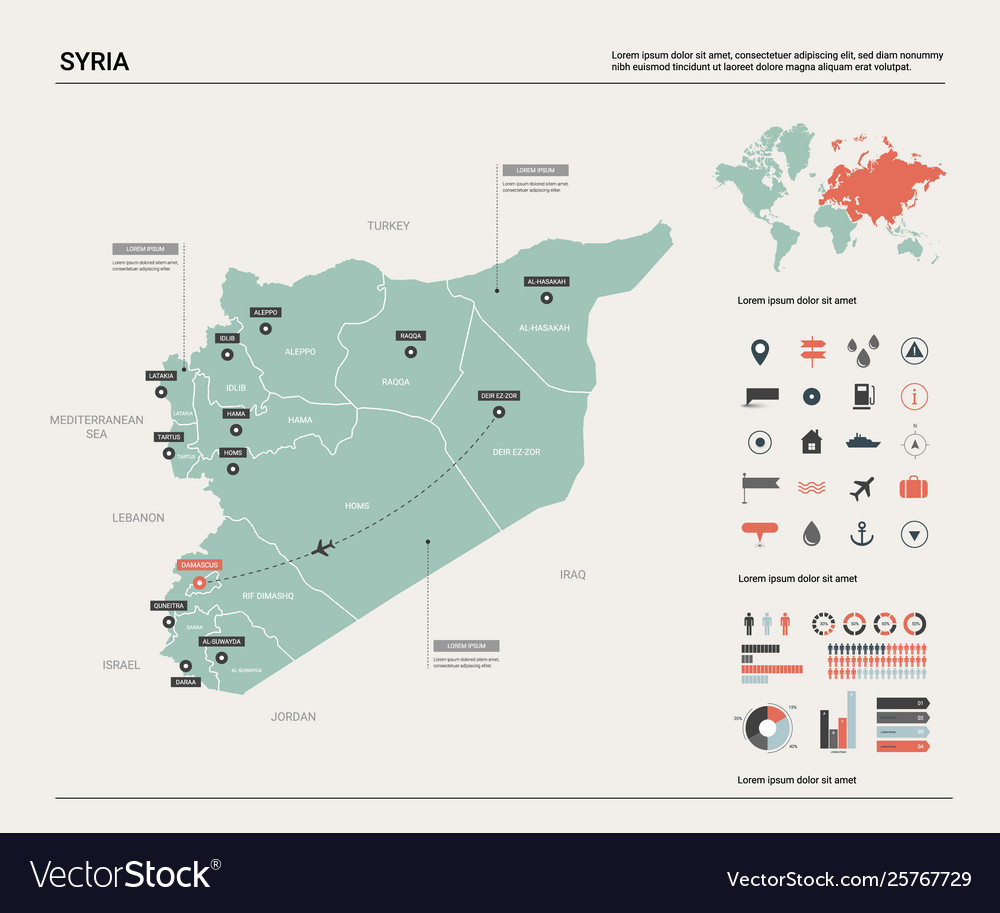 Map syria country map with division cities and Vector Image