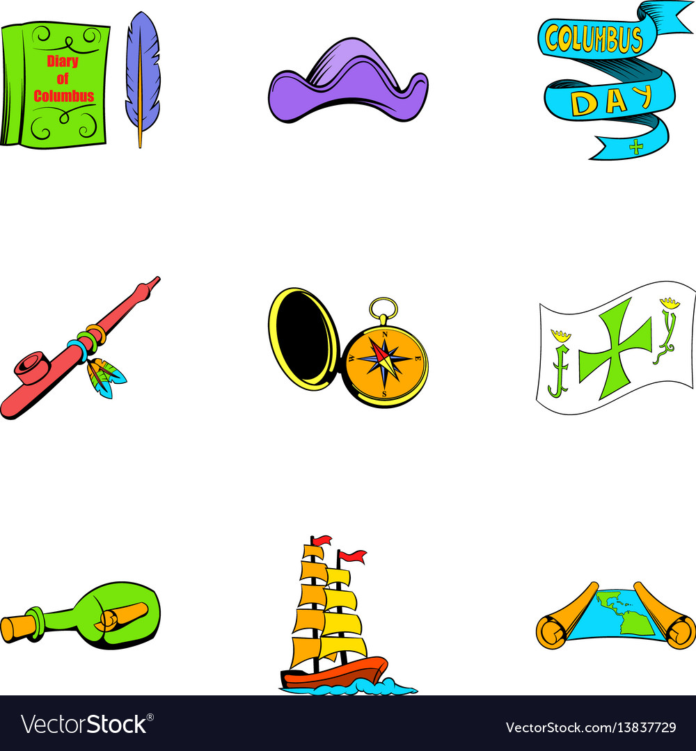 Pirate travel icons set cartoon style vector image
