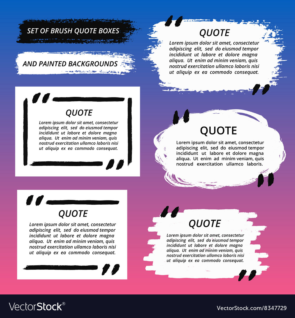 Quote Boxes and Brush Strokes Set