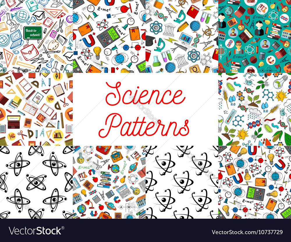 Science and knowledge seamless pattern wallpapers