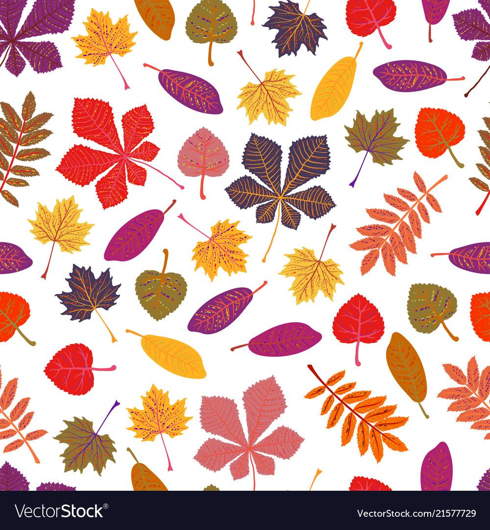Seamless pattern autumn leaves yellow foliage