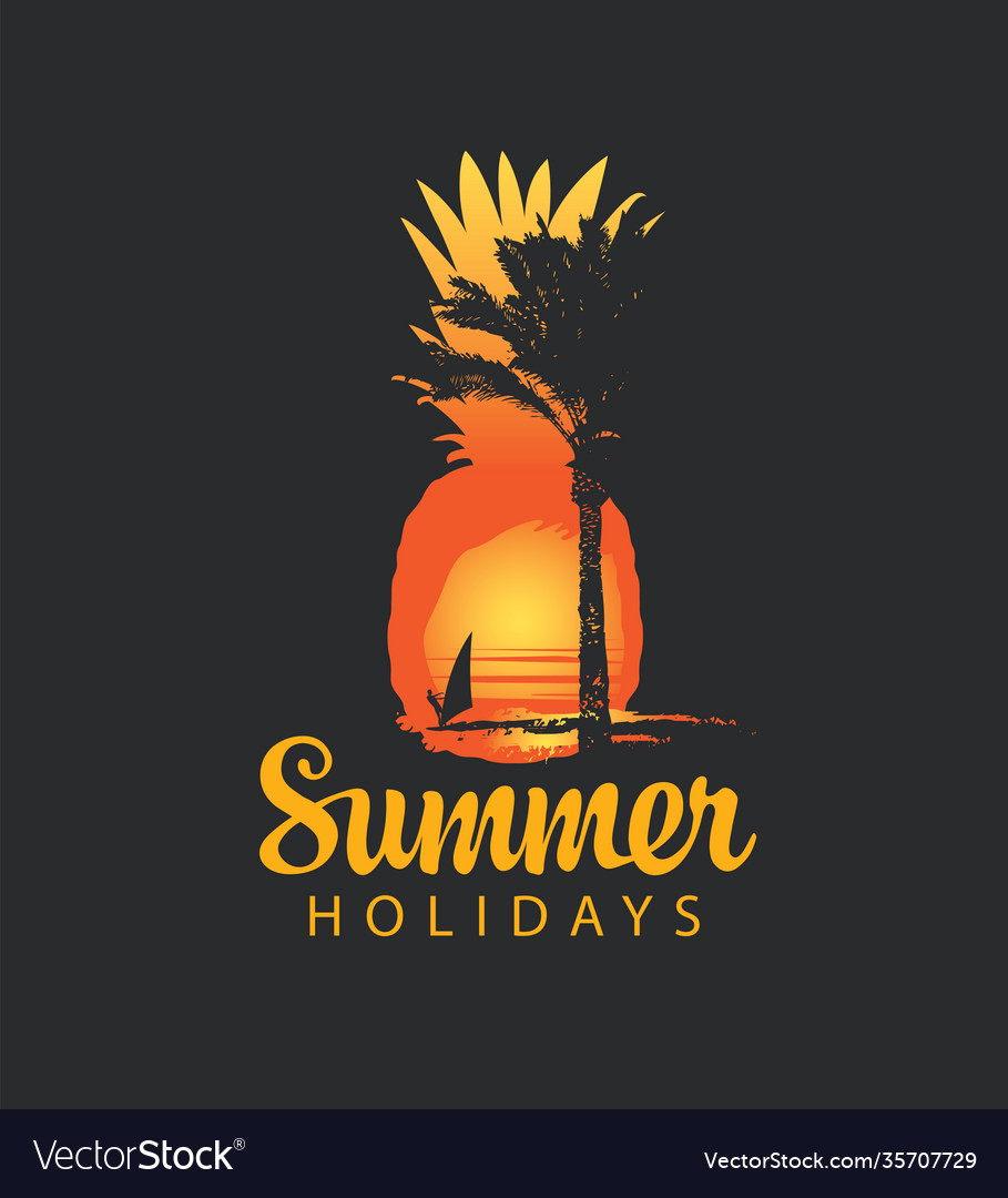 Summer travel banner with sun palm and surfer