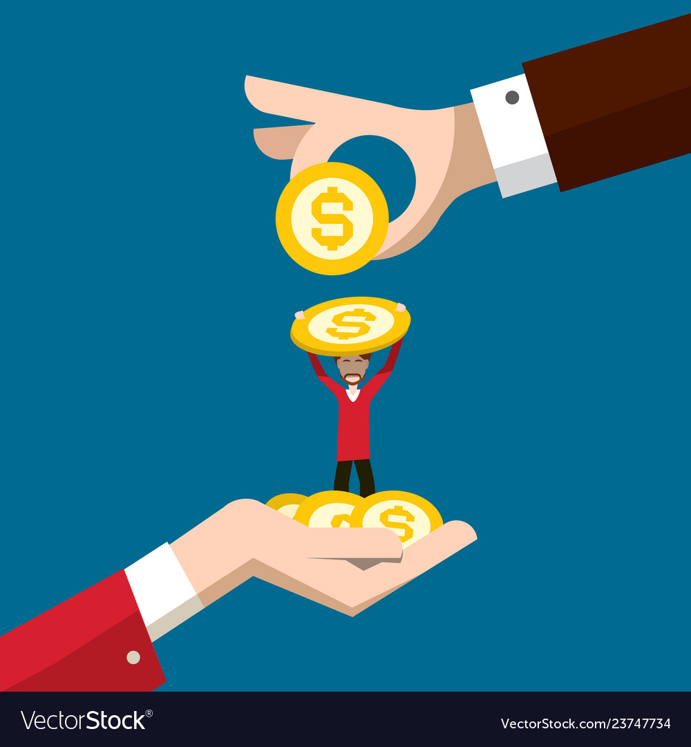 Business concept with man holding dollar coin and