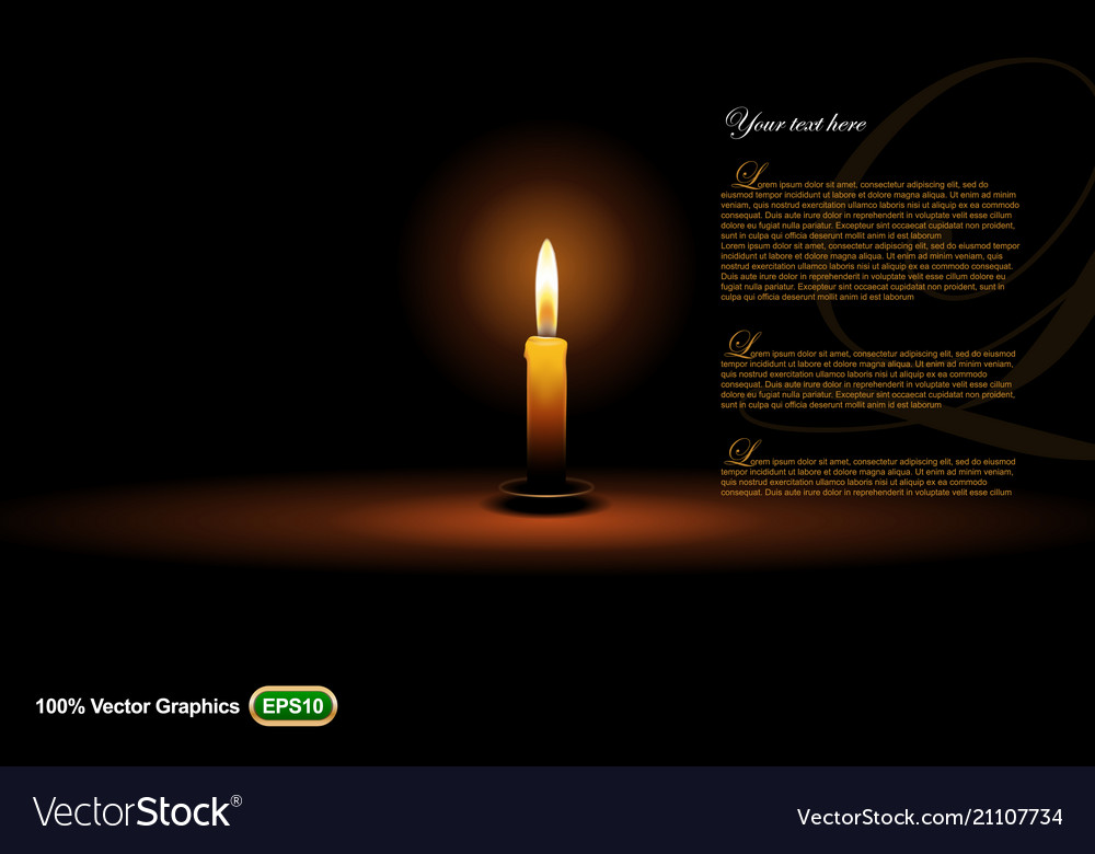 Candle on dark background