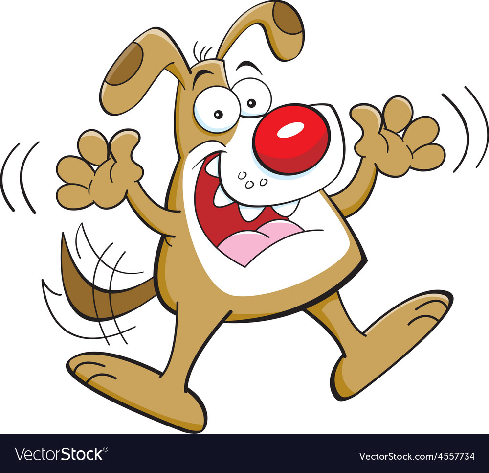 Cartoon Happy Dog Jumping Royalty Free Vector Image