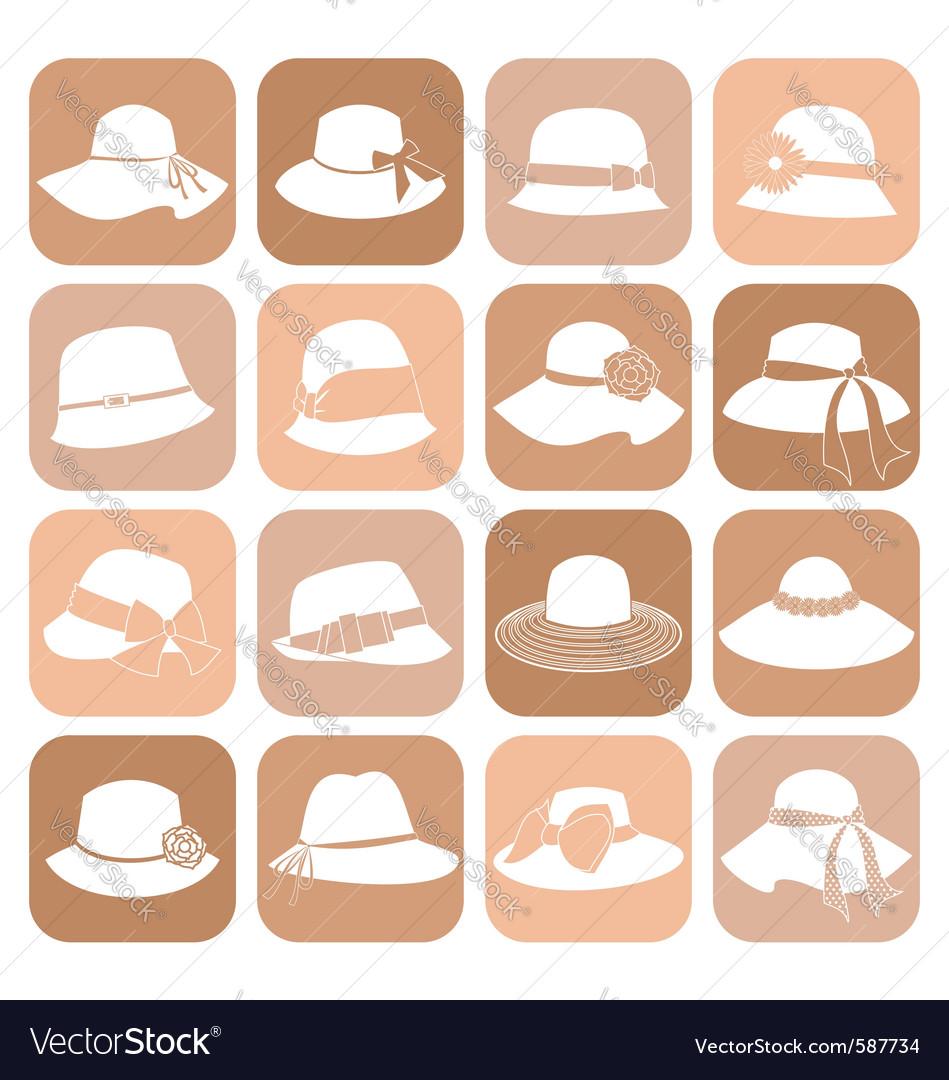 Elegant hats icon set