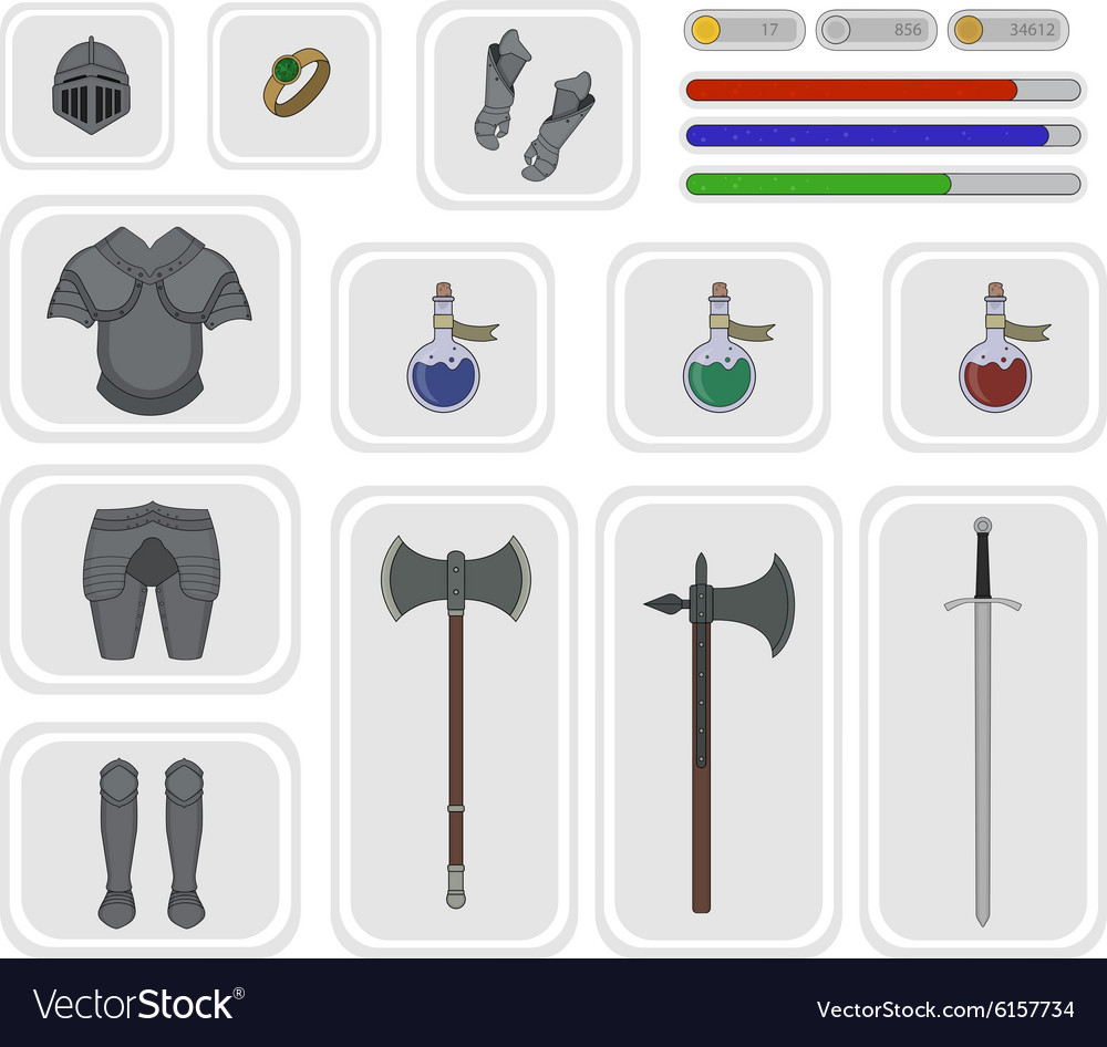 Game inventory Warrior knight set 2 vector image