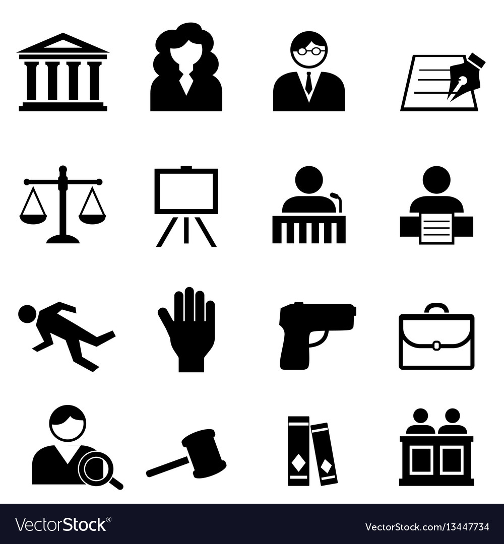 Law legal justice icon set